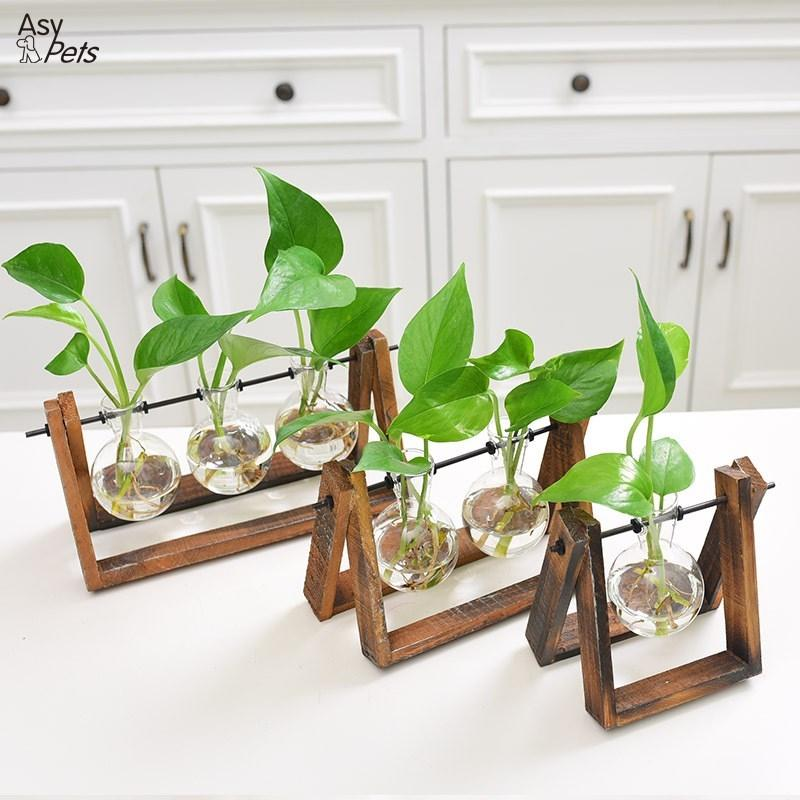 LumiParty Creative Plant Glass Hydroponic Container Terrarium Desk Decor with Wood Stand Flower Pot Home Decoration-25