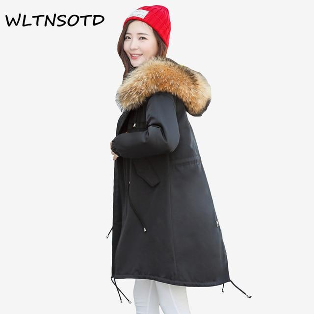 1202eedd0c0 2017 зима новый Щука куртка Женская мода длинные большие размеры большой  енота меховым воротником с капюшоном