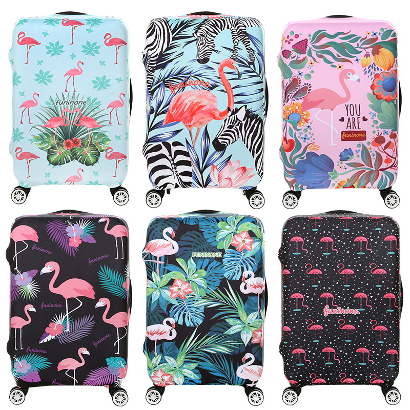 Travel Accessories Luggage Cover Suitcase Protection Set Baggage Dust Cover Trunk Set Trolley Case Elasticity Flamingo Pattern