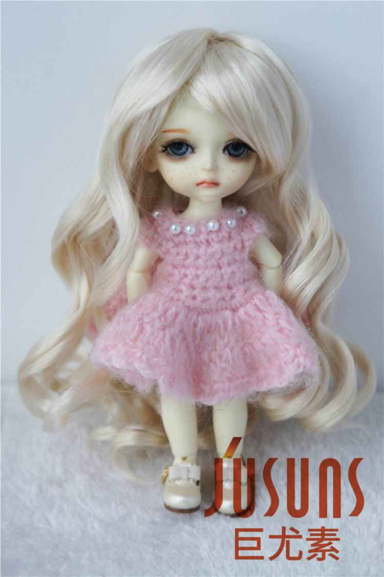 JD154 1/8 synthetic mohair doll wigs Long Lady wave bjd wig ,5-6 inch Lati yellow doll accessories ...