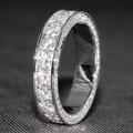 3 Карат кт 5 мм Широкий F Цвет Обручальное кольцо Moissanite Diamond Соответствующие Группы С Настоящий Бриллиант Акценты 14 К 585 Белый золото