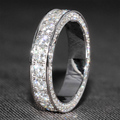 3 Carat ct 5mm Wide F Color Wedding Band Moissanite Diamond Matching Band With Real Diamond Accents 14K 585 White Gold