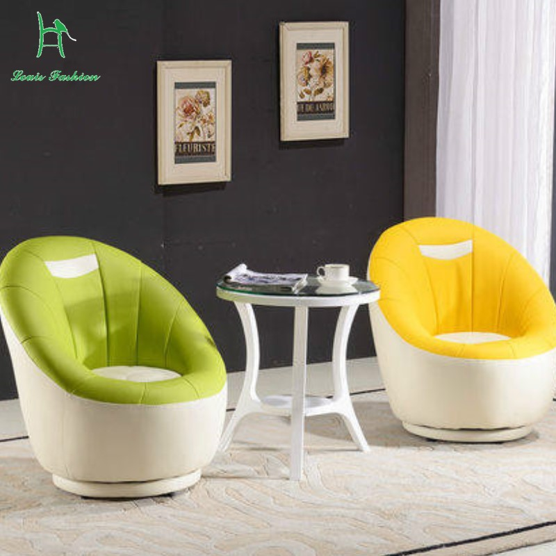 US $130.0 |Louis Fashion Single Lazy Sofa Leather Art Creative Study  Computer Small Sitting Room Sofa Chair Can Rotate-in Living Room Chairs  from ...