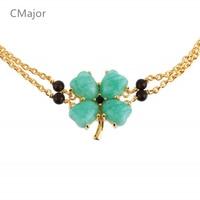 CMajor solid silver jewelry four leaves clover bracelets festival Saint Patrick's Day bracelets for women