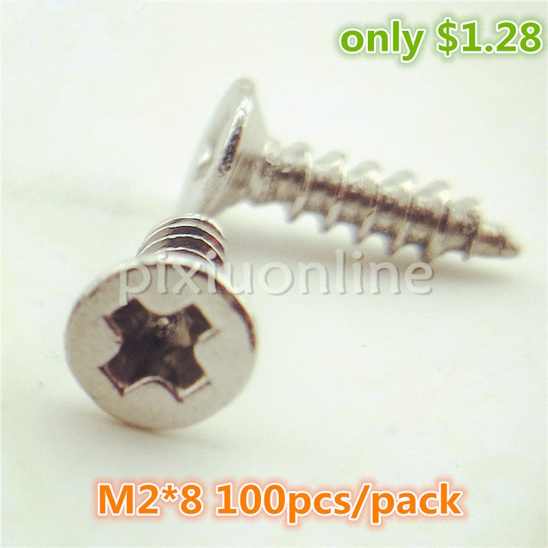 100pcs/lot J250 Flat Head Philip's Screws DIY Small Self-tapping Screws Stainless Steel M2*8 Screws Free Shipping Russia scooter modified shell decorative accessories motorcycle titanium screws color screws self tapping screws car styling diy kit
