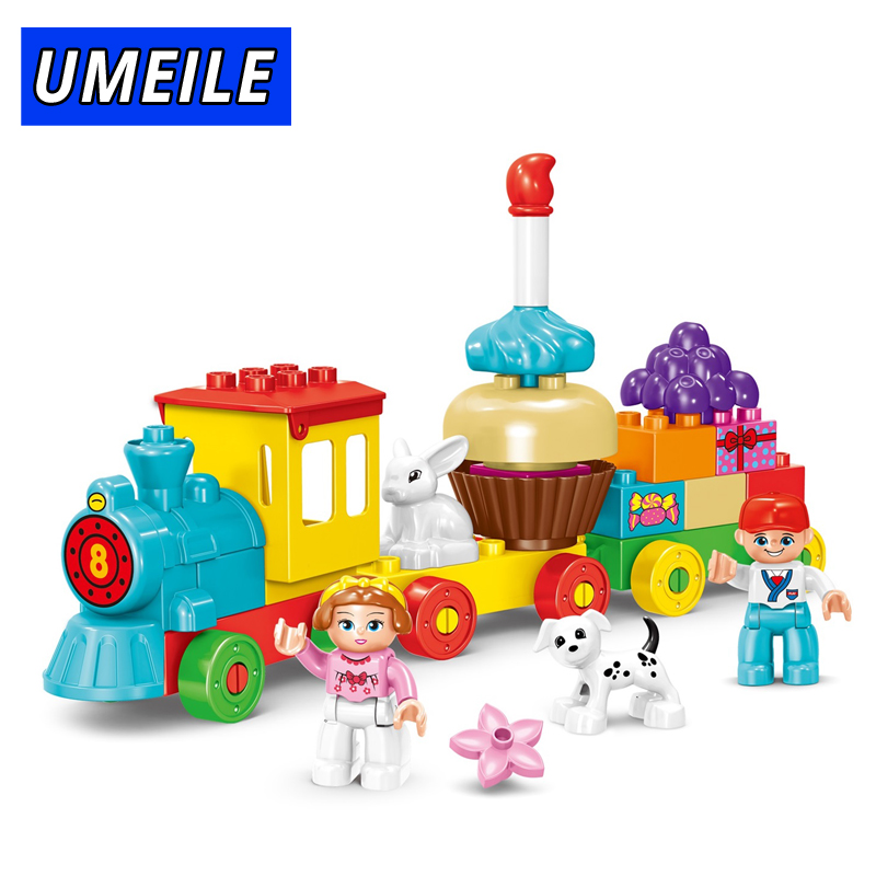 UMEILE 58PCS Train Brick Block Educational Birthday Cake City Set Friends Figure Kids Toys Compatible With Duplo Gift umeile original classic city engineering ladder truck fire engine model car block kids educational toys compatible with duplo