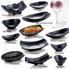 Melamine Dinnerware Dinner Plate Black Frost Ingot Shaped Plate Restaurant Hotel Wineshop Melamine Dish A5 Melamine Tableware