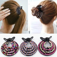 Women Hair Clips Nest Rhinestone Hairpin Ponytail Bun Holder Accessory Shining Hair Accessory Styling Tools Hair Clips