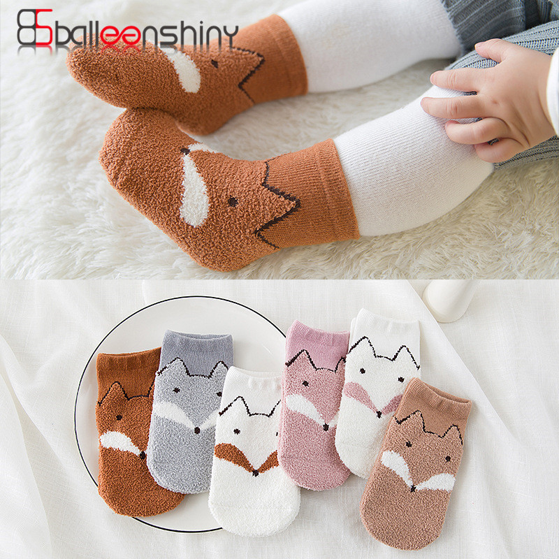 BalleenShiny 3 pair/lot Cartoon Cute Baby Sock coral fleece child floor Socks winter keep warm for 0-4 year baby boy /girl socks