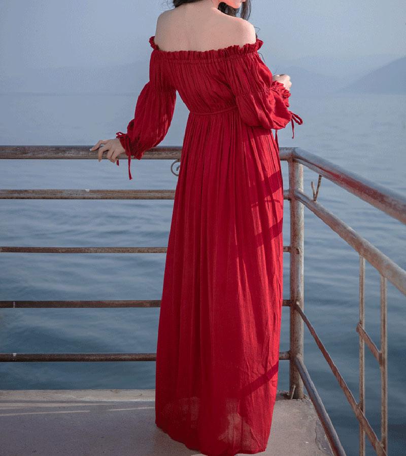 PERHAPS U red strapless long puff sleeve maxi long dress solid off shoulder loose D0526 3