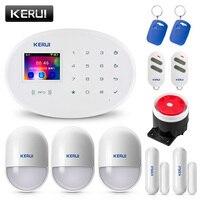 KERUI W20 2,4 дюймовый TFT цветной экран wifi GSM домашняя охранная сигнализация набор RFID карта приложение управление детектор движения сигнализация ...