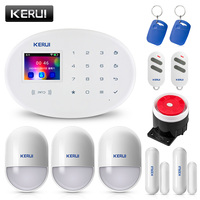 KERUI W20 2.4 inch TFT Color Screen WIFI GSM Home Security Alarm System Set RFID Card APP Control Motion Detector Burglar Alarme