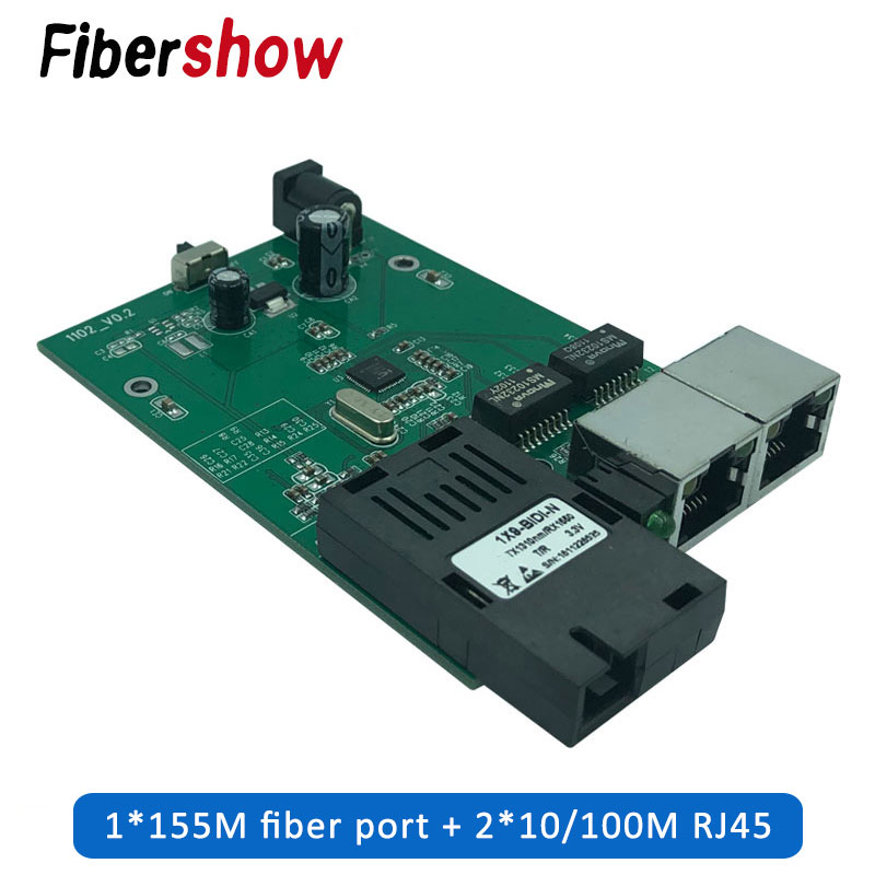 Ethernet Fiber Switch 2 RJ45 1 SC Optical Media Converter Single Mode Fiber Port 10/100M PCB
