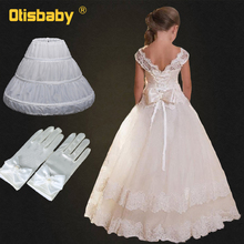 Summer 2019 Fomal Gown Children Lace Flower Fancy Girls Dresses Teenage Party Ball Gown Kids Wedding Evening Prom Long Dresses