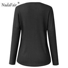 Nadafair oversize knitted t shirts women 2018 autumn spring long sleeve solid knitting pullovers female casual tees tops women