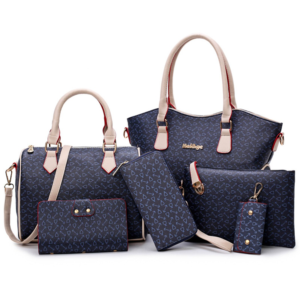 New Brand Baellerry 6 Pcs Women Leather Handbags Set Designer High Quality Fashion Casual Shoulder Bag Female Purse Bags miwind new fashion leather handbags high quality women shoulder bags buy one get another free full set 6 pieces more favorable