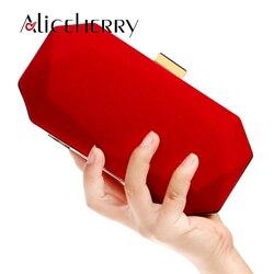 Veludo sacos de noite das mulheres vermelho/preto/azul corrente ombro bolsa dia embreagem caixa sacos para festa de casamento banquete saco alta qualidade