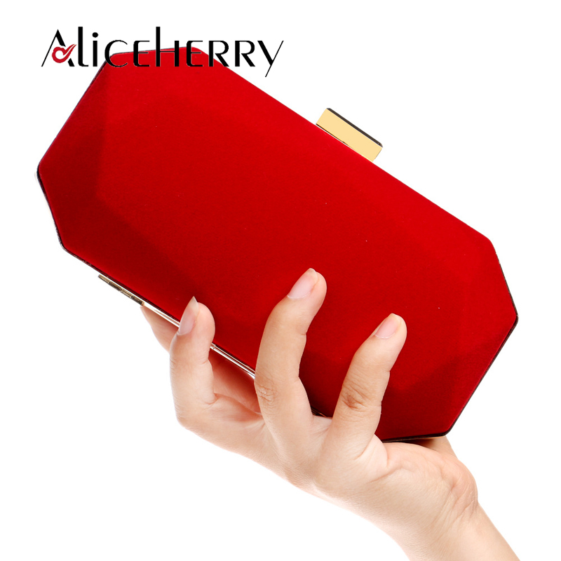 Velvet Evening Bags Women Red/Black/Blue Chain Shoulder Purse Day Clutch Box Bags For Wedding Party Banquet Bag High Quality