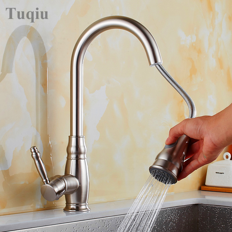 Free Shipping Brass kitchen Nickel cold and hot water tap kitchen sink faucet taps mixer with pull down shower head цена