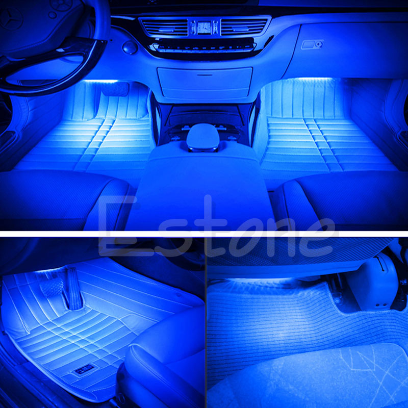 New Blue 2X12 LED Car Interior Footwell Floor Decor Atmosphere Light Neon Strips