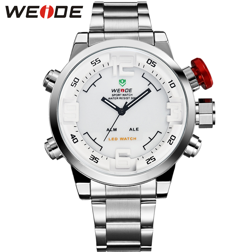 WEIDE Original Brand Men Watch Waterproof Stainless Steel Silver LED Analog-Digital Display White Dial Wrist Watch Gifts For Man