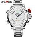 WEIDE Original Brand Men Watch Waterproof Stainless Steel Silver LED Analog-Digital Display White Dial Wrist Watch Gifts For Men
