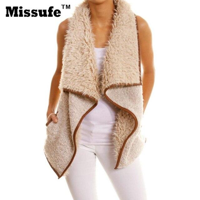 Missufe Casual Irregular Vest Women Imitation Cashmere Colete Sleeveless Jacket 2017 Spring Outwear Lady Veste Femme Womens Vest