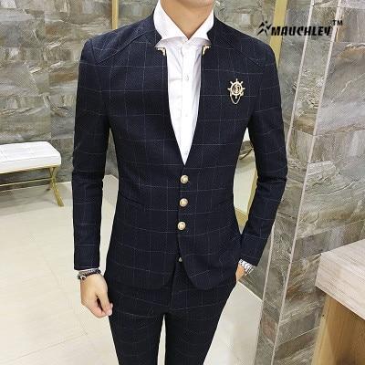 2 teile / satz jacke mit hosen slim fit herren prom anzüge junge - Herrenbekleidung
