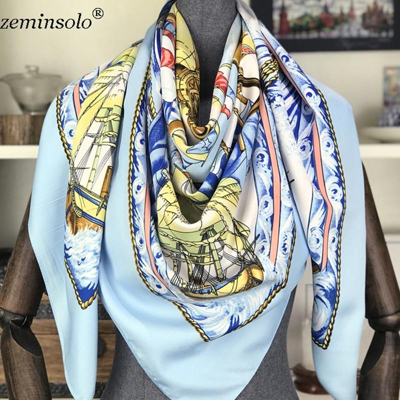 100 Silk Scarf Women Square Scarves Wraps 2019 Neckerchief Female Foulard Silk Hijab Bandana Lady Bufandas Shawls 130 130cm in Women 39 s Scarves from Apparel Accessories