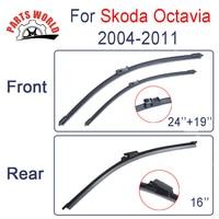 Front Rear Wiper Blades For Skoda Octavia 1994 2001 Windscreen Windshield Natural Rubber Car Accessories