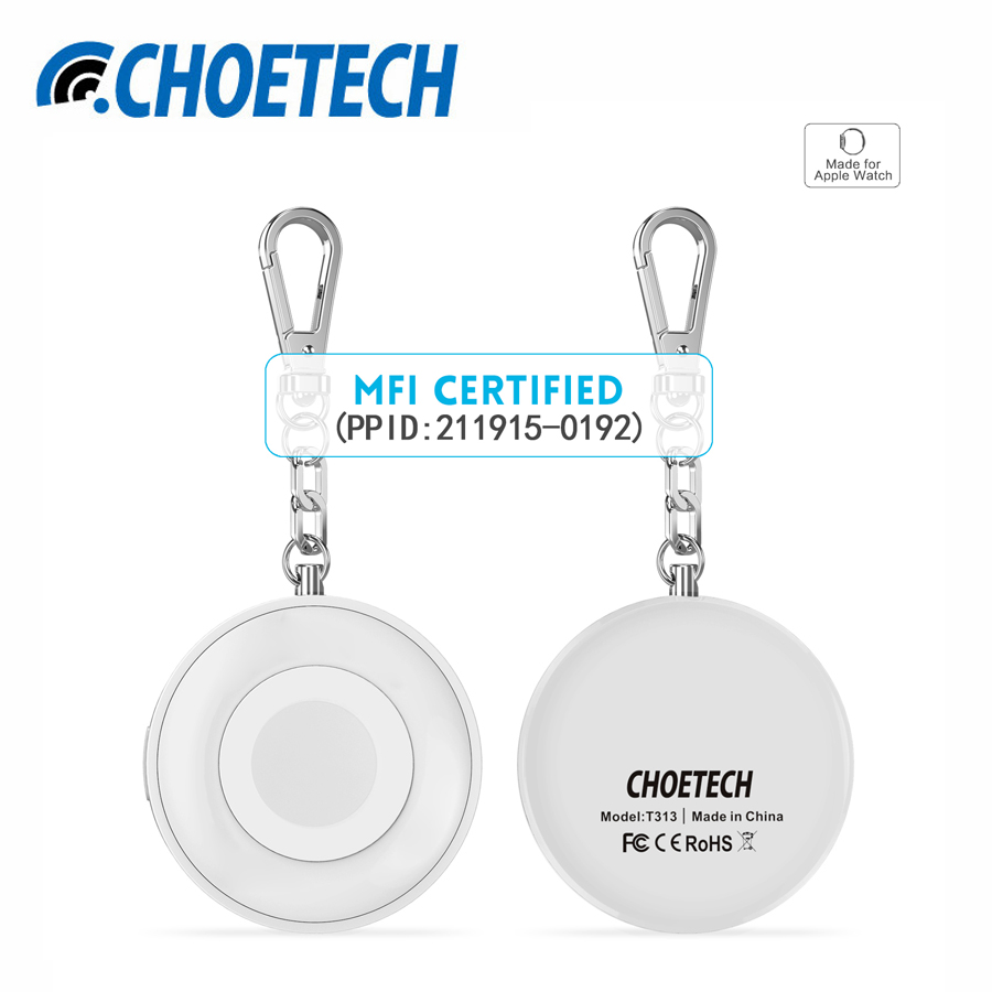 imágenes para CHOETECH 900 mAh Cargador Inalámbrico Certificado Imf Magnética Charging Dock con Llavero de Apple Reloj de Banco de la Energía de Batería Externa
