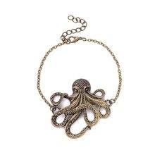 Mens Fashion Punk Style Retro Octopus Bracelet Bangle Women Statement Stamping Brass Animal Hip Hop Jewelry