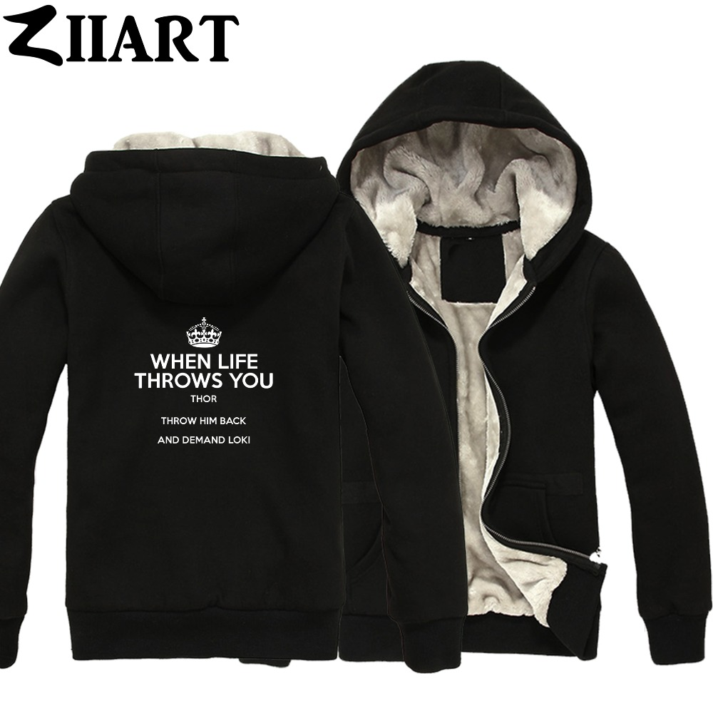 imperial crown when life throws you thor throw him back and demand loki Boys Man Male Full Zip Winter Plus Velvet   Parkas   ZIIART