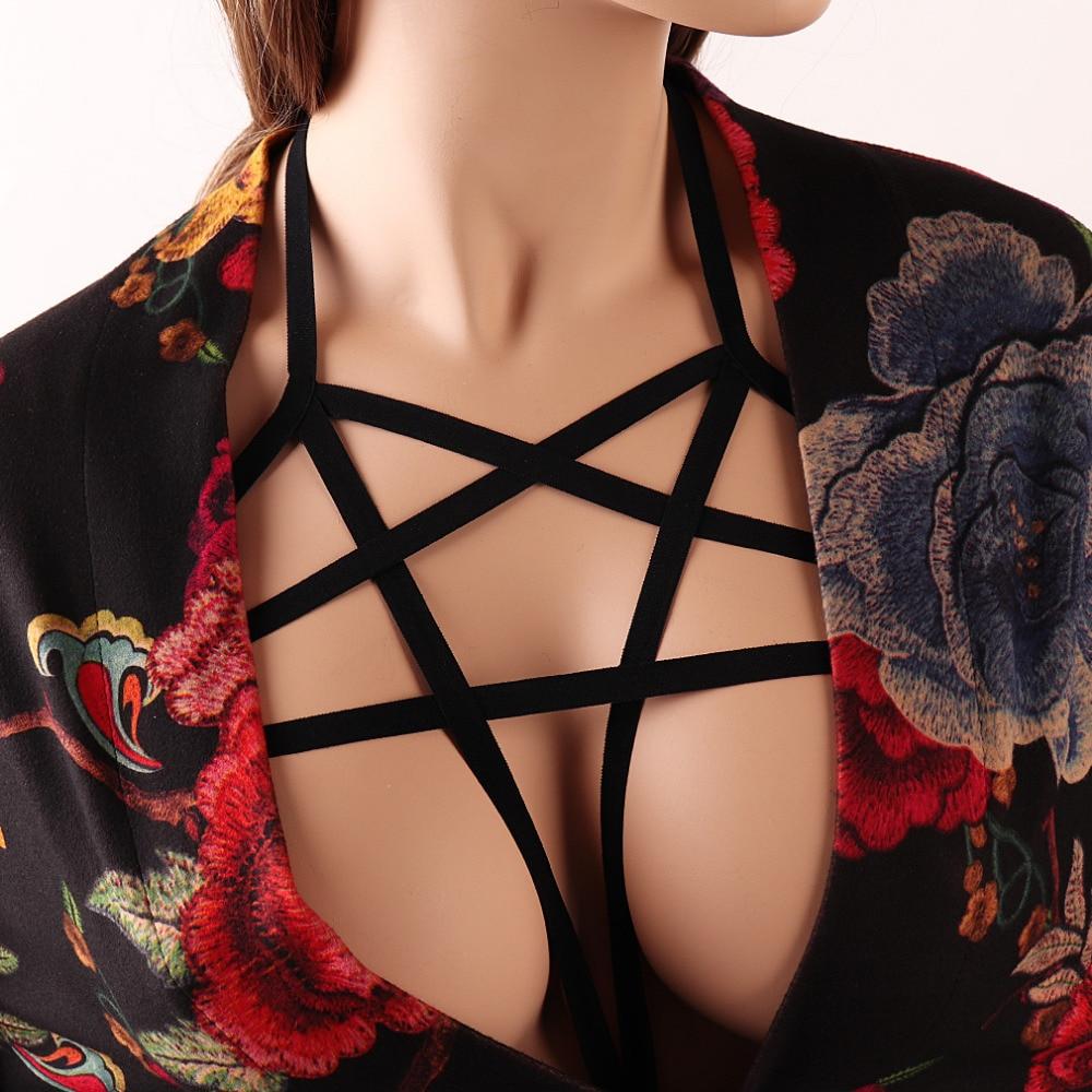 Rave Wear Pentagram Bondage Body Harness Lingerie Goth Crop Tops Fetish  Cage Bra Lingerie Harness Belt Star Harness Bra