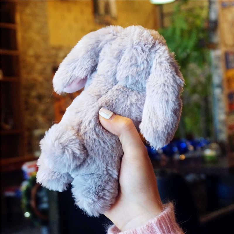 Rabbit Hair Fur Case For LG K50 40 Q6 G8 G7 G6 G5 G4 Q7 V40 V30 V20 K8 K11 Stylus 4 Cute Fluffy Winte Warm Cover Bunny Cony