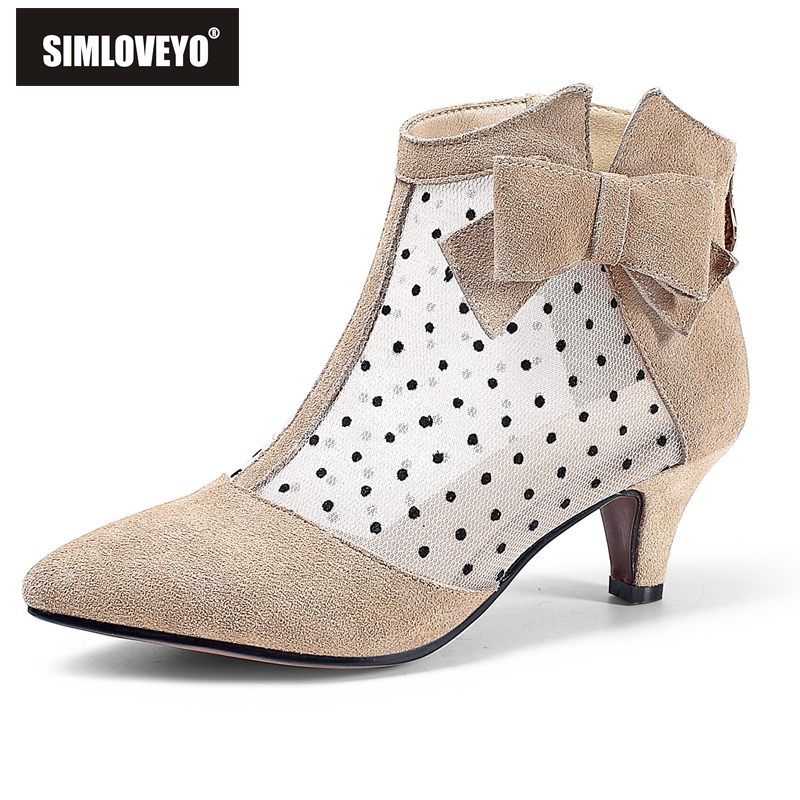 SIMLOVEYO New Arrival Women Med Heel Pointed Toe Ankle boots for Women Lace Flower Casual Polka