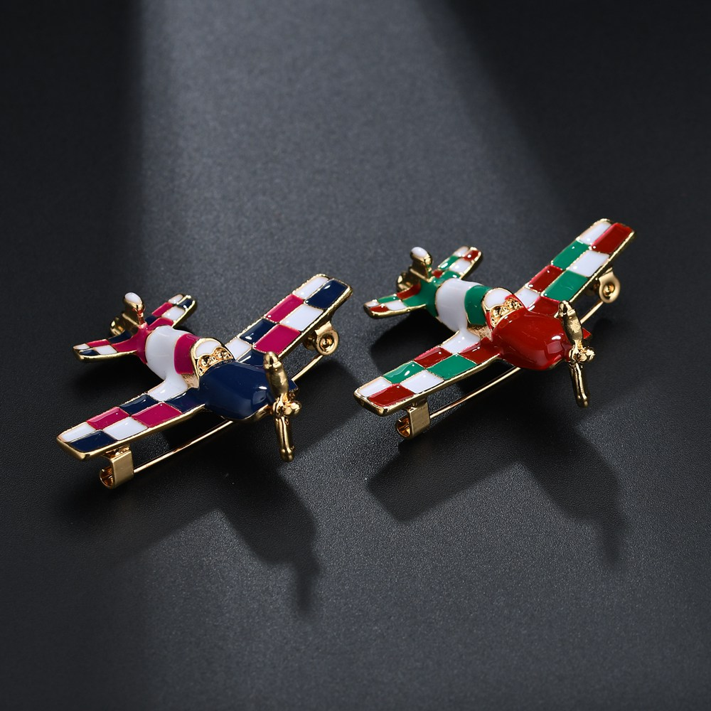 Terreau Kathy Cute Little Airplane Brooch Blue Enamel Brooches Pin Aircraft Model Jewelry Suit Clothes Clips New Year Gifts image
