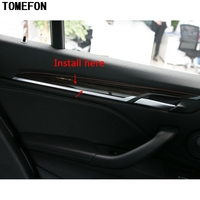 TOMEFON For BMW X1 F48 2016 2017 2018 LHD ABS Carbon Fiber Wood Special Paint Interior Front Rear Side Door Panel Trim 4pcs