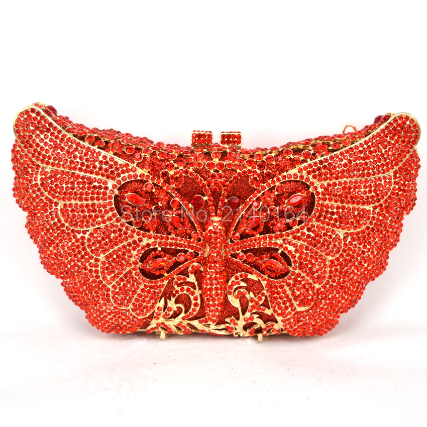 Women Butterfly Shape Luxury Crystal Red Evening Bag with Chain Sisters Party Handbag Wedding Clutch Animal Evening Handbag Q76 jackson pearce sisters red