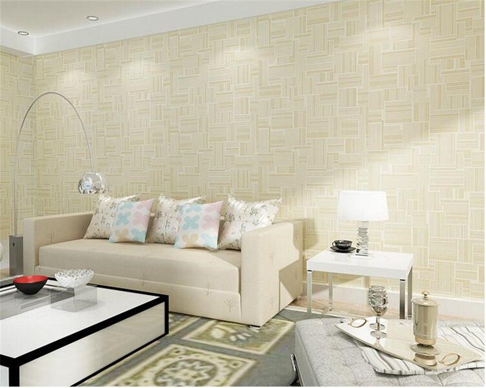 beibehang Warm beige hotel hotel decoration wall paper geometric nonwoven bedroom living room restaurant elegant 3d wallpaper