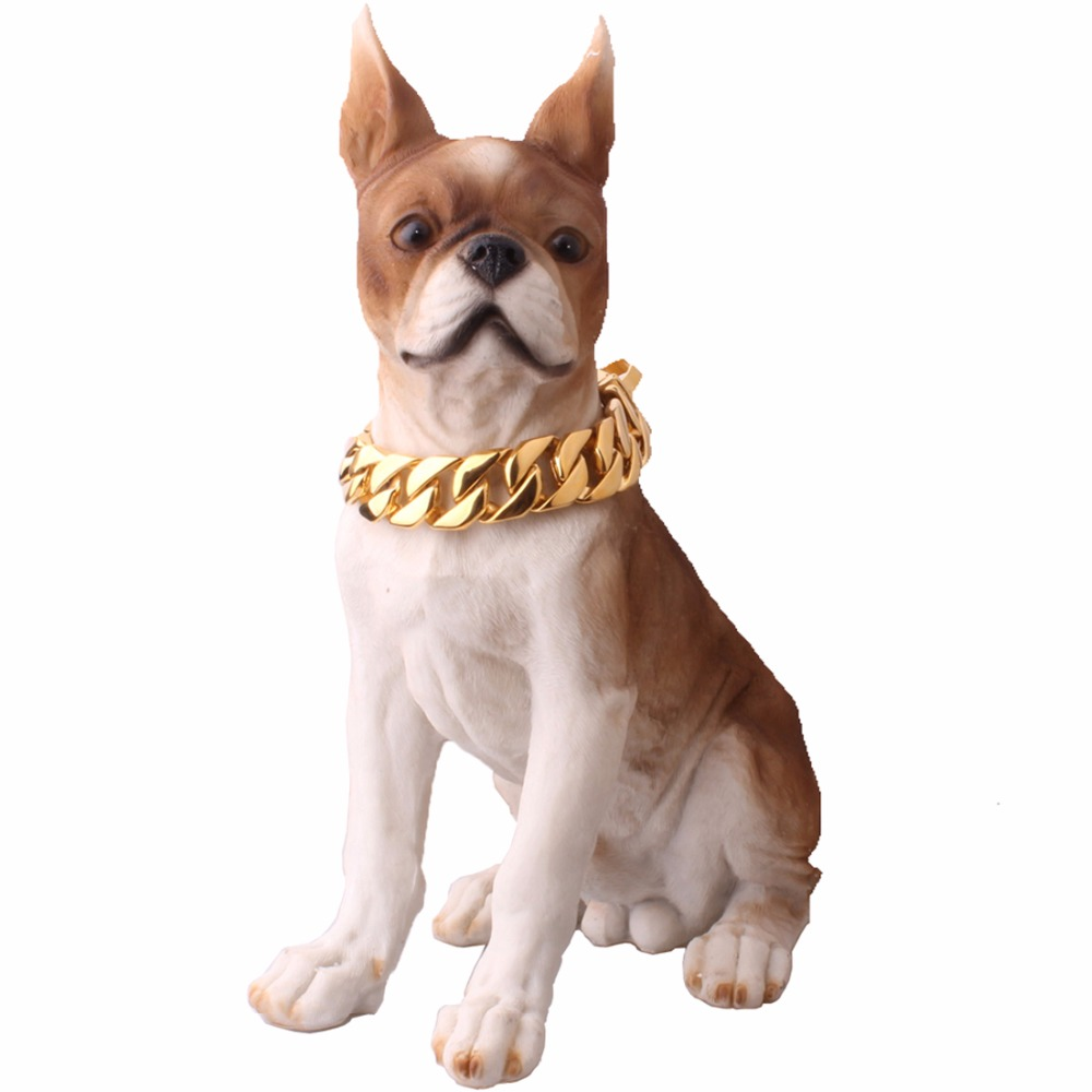 Gold Tone Luxury Tone Dog Collar Necklace Pet Puppy Stainless Steel Curb CUban Pet Chain Collar Dog Pinch Collars Large Dogs pet safe electronic shock vibrating dog training collar with remote control 2 x aaa 1 x 6f22 9v