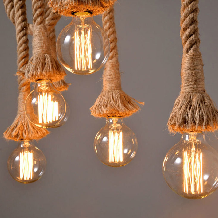 Vintage hemp rope pendant lights loft industrial style classical 5 aloadofball Image collections