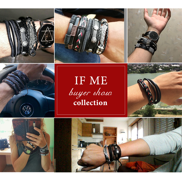 IF ME Vintage Leaf Feather Multilayer Leather Bracelet Men Fashion Braided Handmade Star Rope Wrap Bracelets & Bangles Male Gift 2