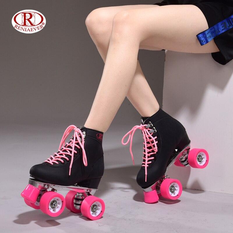 Double rangée patins, quatre-roues rouleau adulte de patinage patinoire, métal-à semelles, chaussures noires, rose roue, Rue patins à roulettes