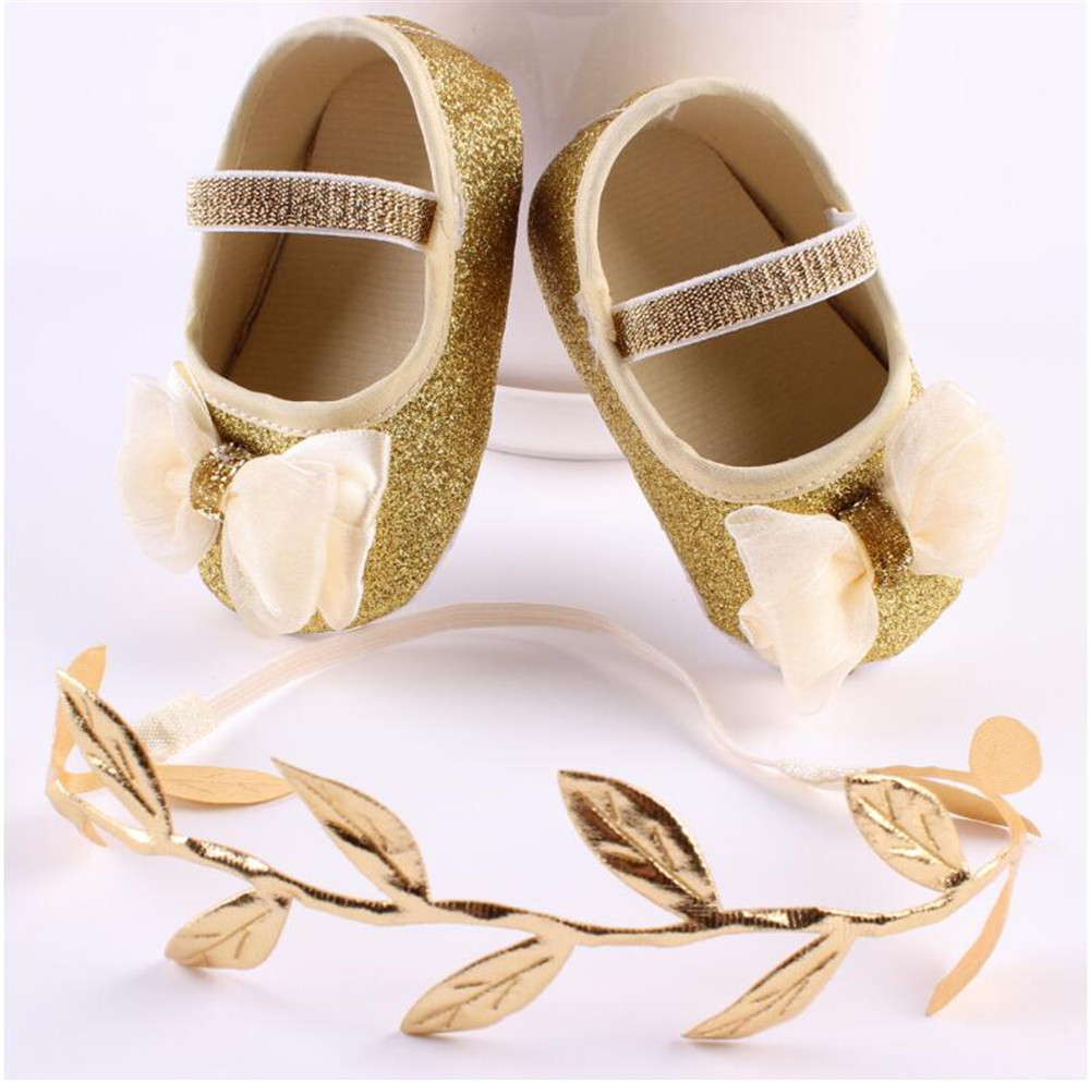 Puseky Fashion Baby Girl Shoes Hot Girl First Walkers Gold Bling Baby girl shoes With Big Bow For 0-12 Month Baby Gold/Silver