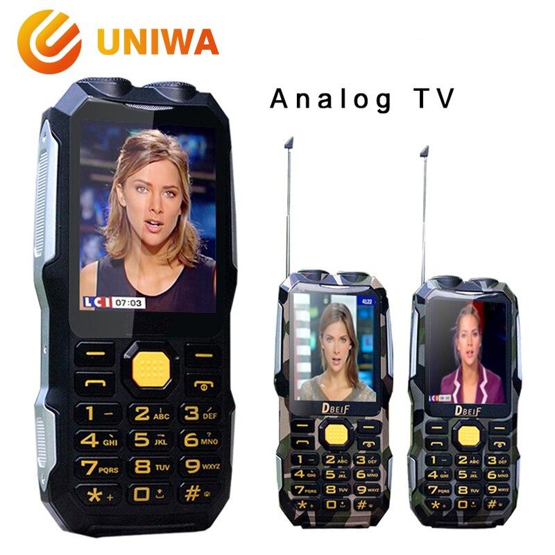 DBEIF D2016 Téléphone Portable Voix Magique Double Lampe De Poche FM Extérieure Antichoc Mp3 mp4 Banque De Puissance Antenne TV Analogique Téléphone Portable Robuste
