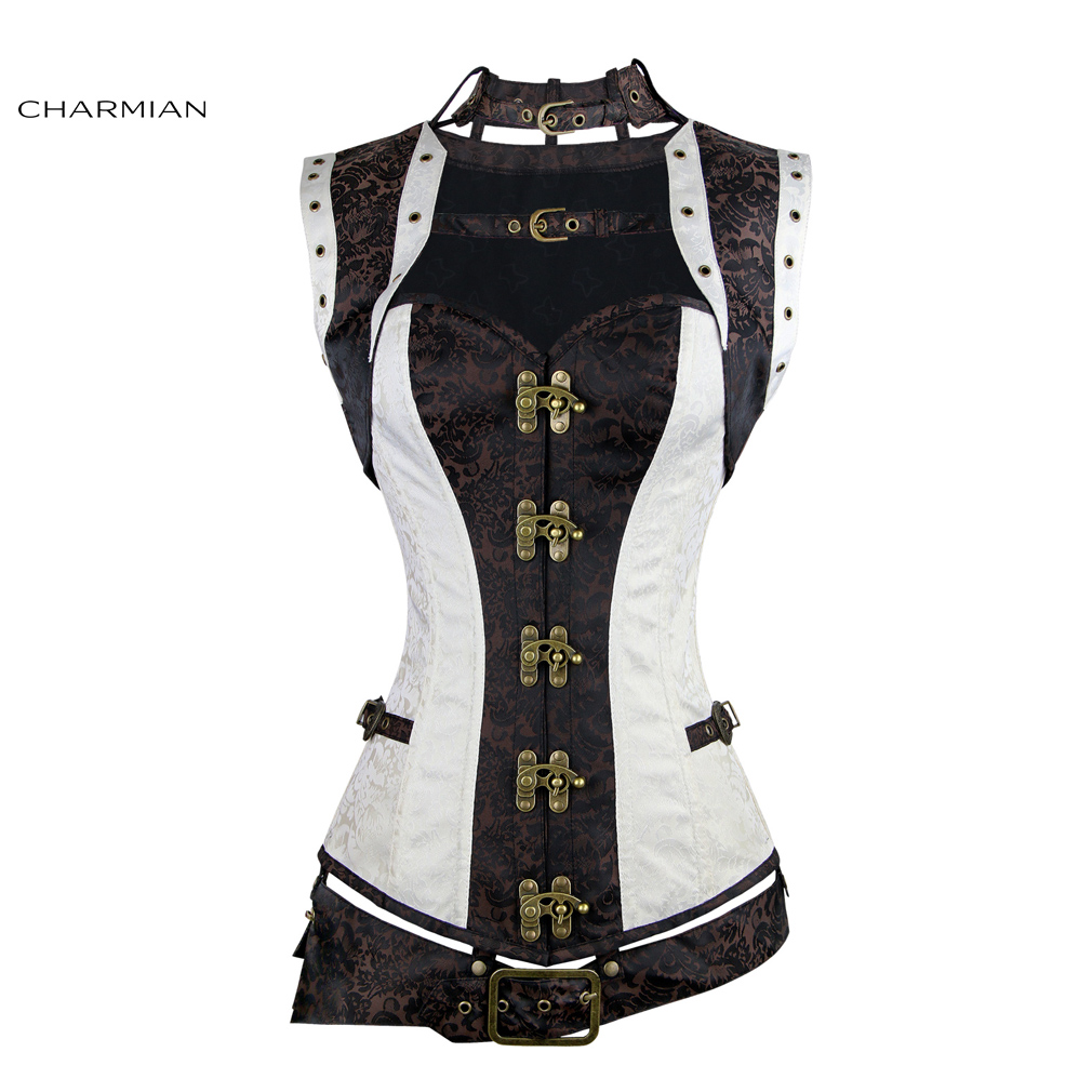 a411e5ab46b Charmian Women s Plus Size Steampunk Corset White Steel Boned Renaissance  Vintage Steampunk Bustier Corset Top Gothic Halloween