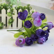 15 головок Искусственный Розовый Шелковый Искусственный цветок лист домашний декор свадебный букет синий домашний отель украшение стола