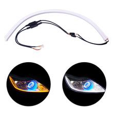 60cm LED DRL Strip Turn Signal Guide Light Dynamic Flowing Flexible Soft Tube Guide White Turn Yellow Car Daytime Running Lights цена