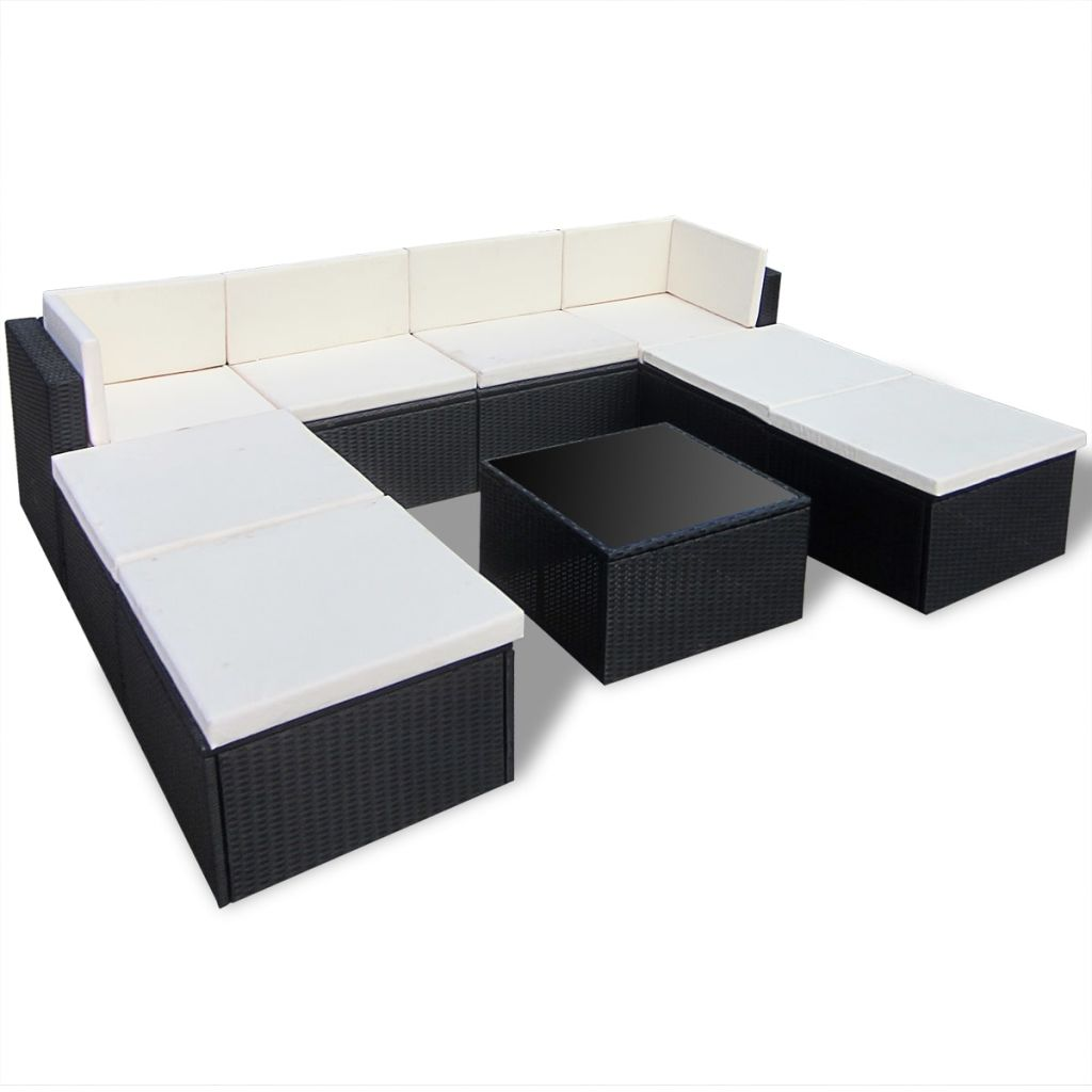 Lounge Set Rattan Vidaxl Black Outdoor Poly Rattan Lounge Set In Garden Sets From Furniture On Aliexpress Alibaba Group